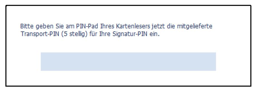 Signatur-PIN eingeben