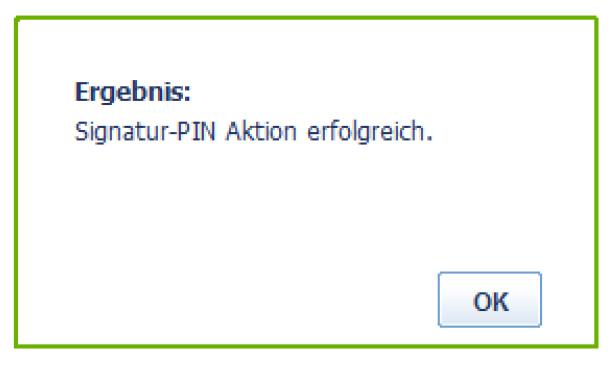 Signatur-PIN - erfolgreich